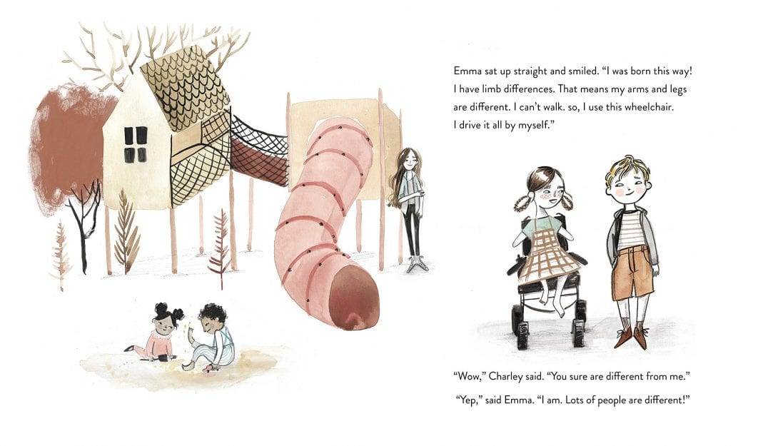 Illustration from the book when Charley met Emma showing a playground scene in the background with  a little girl without arms who uses a wheel chair. She has pigtails and is wearing a plaid jumper. The little boy is standing and wearing tan shorts and a grey hoodie in the foreground