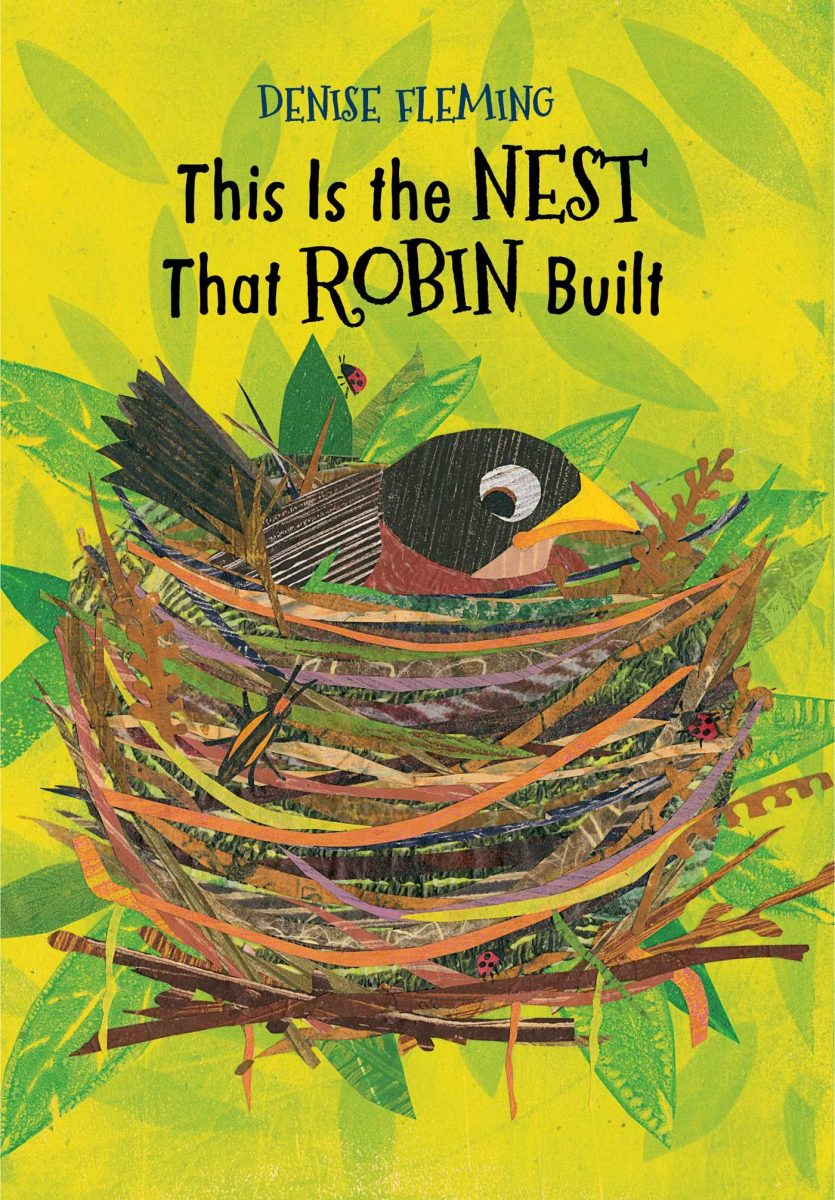 book cover of this is the nest that robin built with a mixed media illustration of a robin in a nest on a yellow and green background