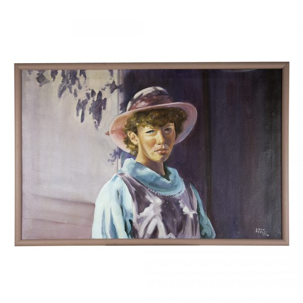 painting of girl in straw hat and overalls in front of grey background with shadows