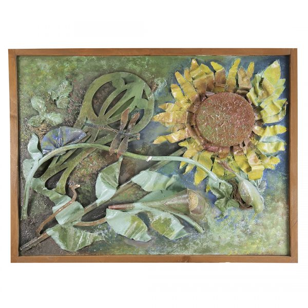 large mixed media sunflower with stem on soft green background