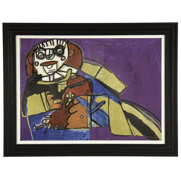 abstract multi-colored portrait of a reclining figure