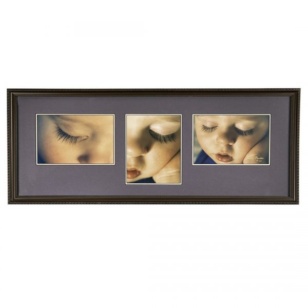 three closeup photographs of a baby's face with closed eyes