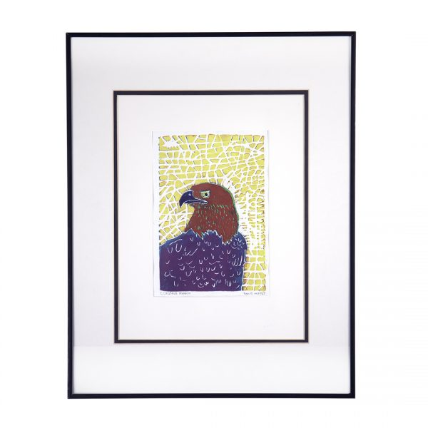 print of eagle with red head, purple body against yellow square pattern background
