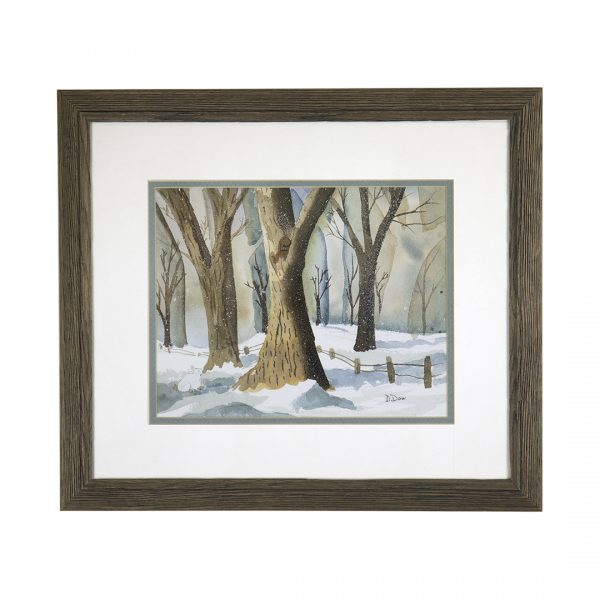 winter landscape with trees, snow, and a fence line