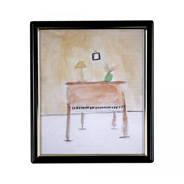 water color painting of upright piano with a green vase and yellow lamp