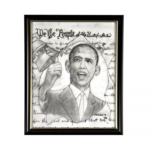 pencil drawing of barack obama ringing the liberty bell in the foreground with the text of the constitution in the background