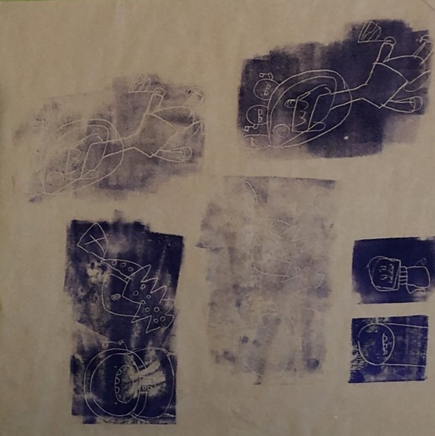 block printed characters in indigo ink
