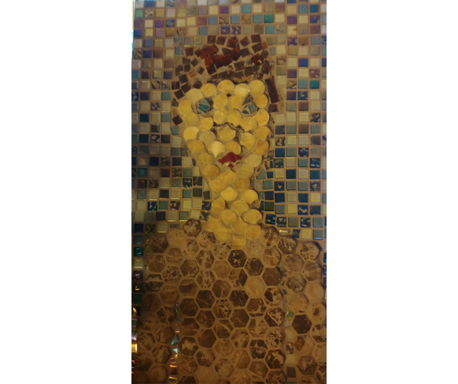 mosaic portrait of a boy with tiles in browns, tans, and blues