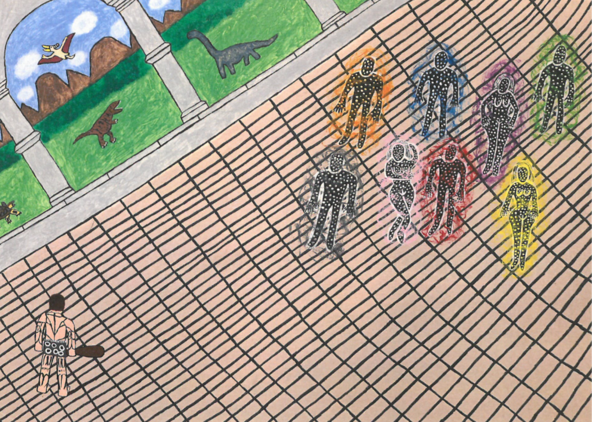 colorful drawing with a grid in the foreground with figures that resemble australian aboriginal illustrations surrounded by colored halos. Architectural columns are in the mid-ground and a green landscape in the background with dinosaurs