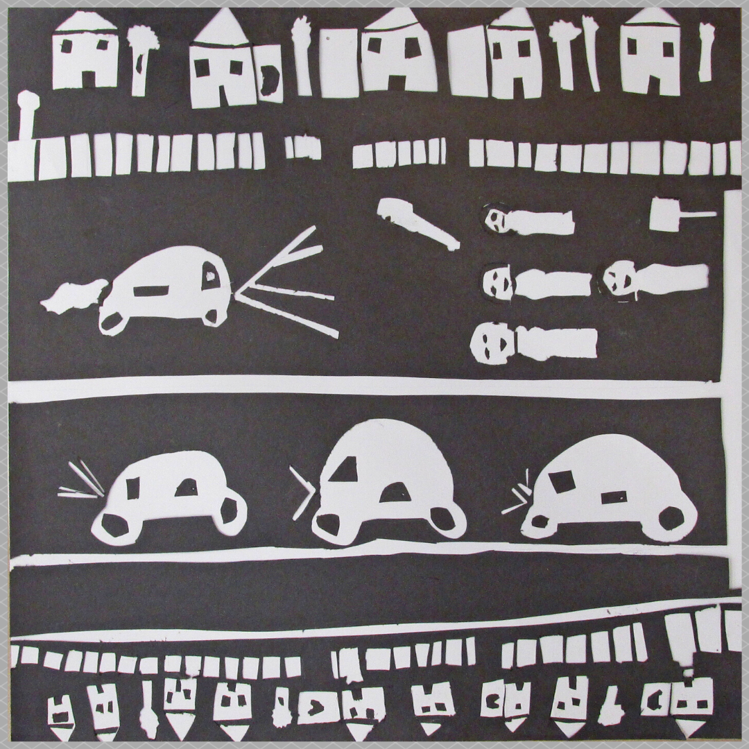 white cut paper on a black background. Paper cuts show houses and cars laid out like horizontal stripes from top to bottom