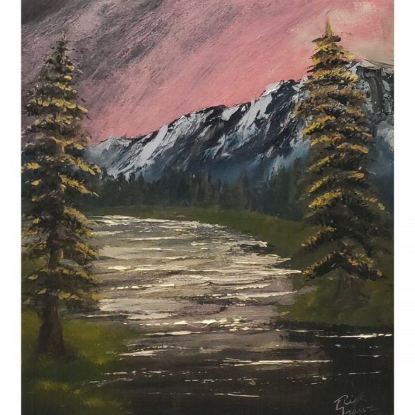 landscape with grey mountains in background, shimmery river in center, green and brown pine trees in foreground and sky with red and pink clouds