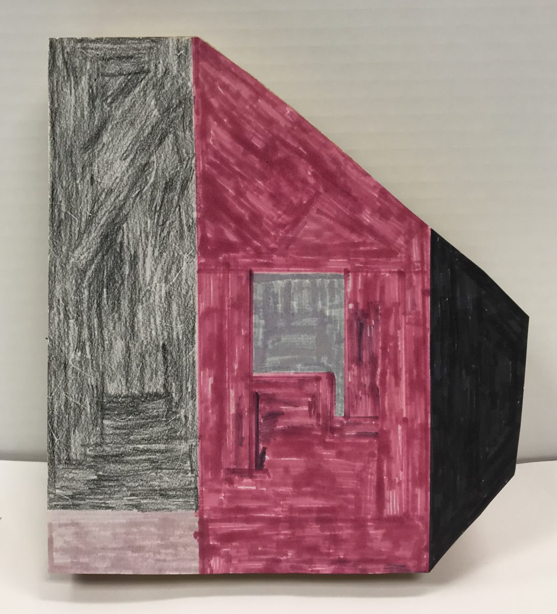 geometric paper piece with grey, maroon, and black sections colored in marker