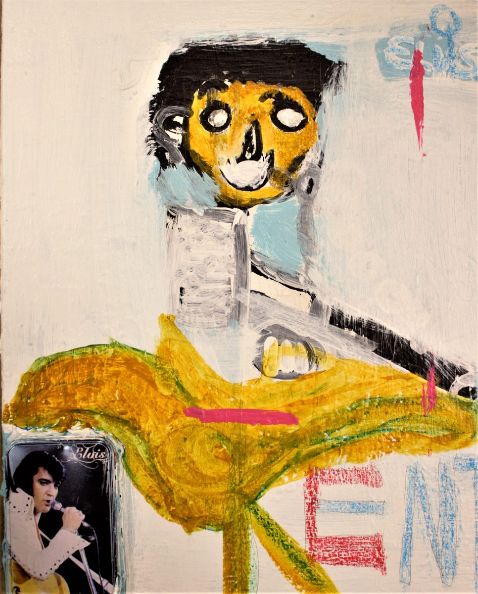 mixed media, abstract painting of Elvis with a white background and yellow figure with black hair. A small photo of Elvis is attached in the lower left corner