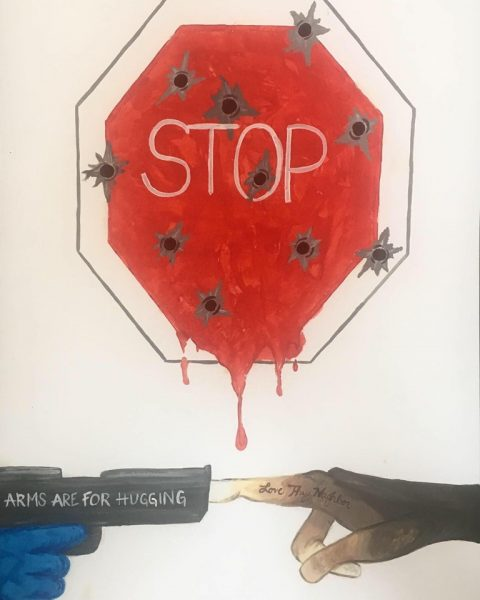 "drawing of stop sign with bullet holes and red dripping from the bottom, bottom of drawing shows a hand holding a hand gun with the words ""arms are for hugging"" printed on the barrel. Another hand is plugging the barrel with one finger that reads ""love thy neighbor. The hand is white and gradates to deep brown"