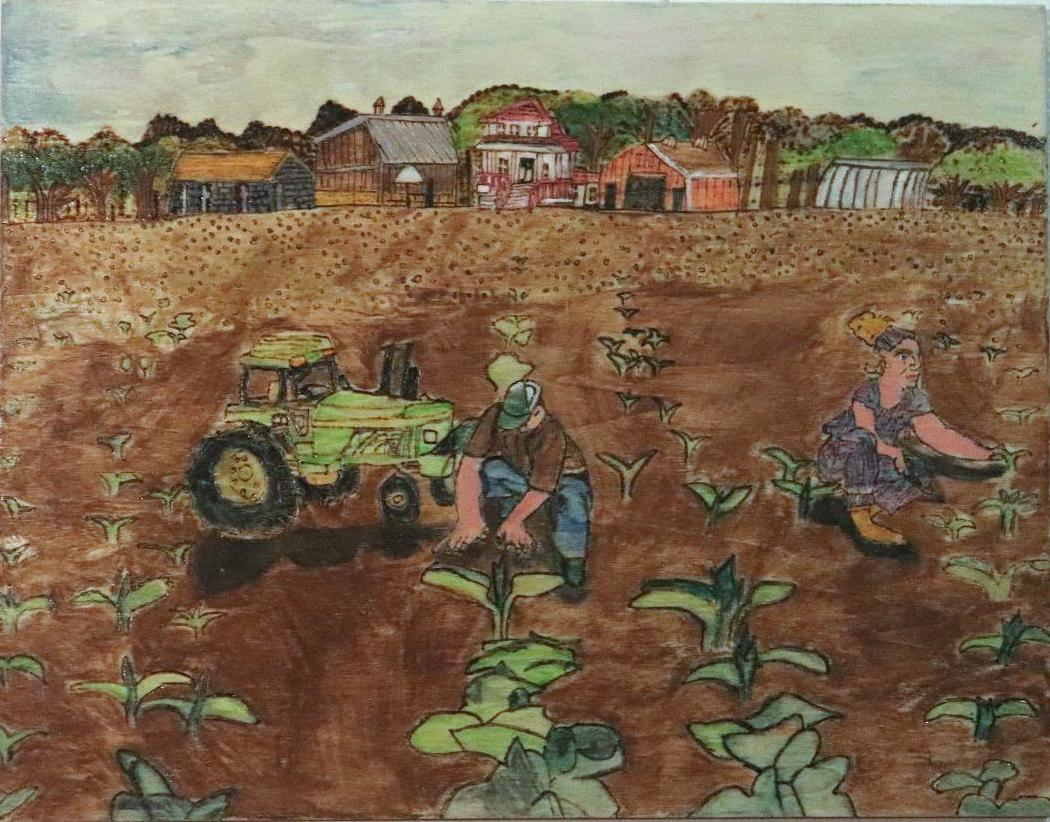 watercolor painting on board of a man and woman working in a farm field with a green tractor in the foreground. in the background there is a town with buildings