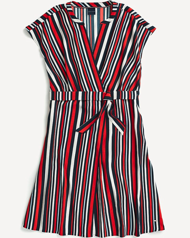 red, navy blue, white vertically striped wrap dress with capped sleeves