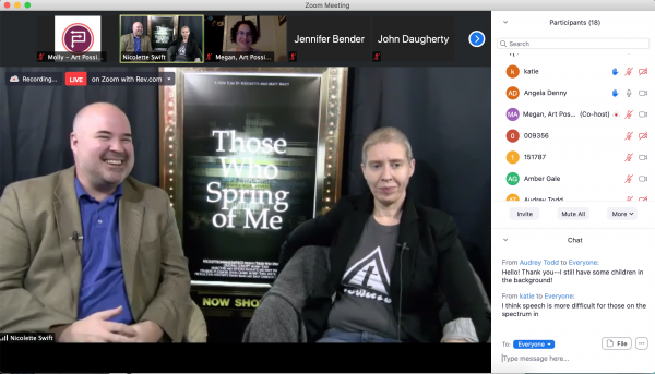 screen shot of virtual talk back with matt and nicolette swift showing a zoom meeting with participants and chat box on the right side of the screen and matt and nicolette on the main part of the screen, matt is wearing a tan blazer and french blue collared shirt and nicolette is wearing a black blazer and grey t-shirt