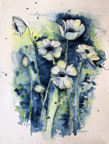 watercolor image of poppy flowers in blues and greens with the poppies in the foreground in white