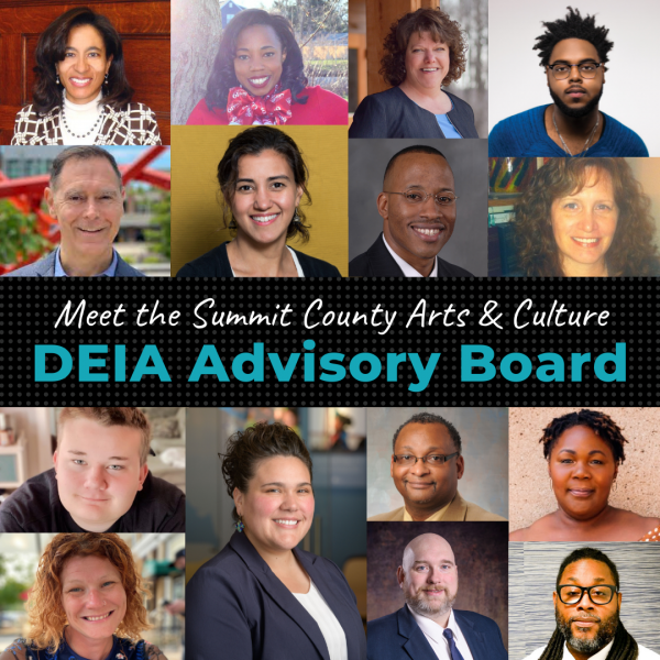 composite of fifteen professional portraits of people serving on the summit county DEIA advisory board. Portraits consist of people who represent a range of skin colors, gender expressions, ages, and styles.