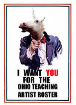 uncle sam with a unicorn head pointing at the viewer with the message I want you for the ohio teaching artist roster printed below in bold font