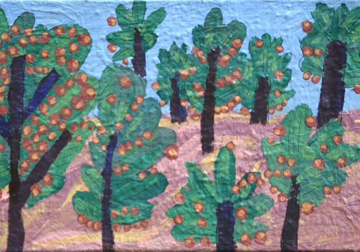 expressively painted orange orchard with trees set against a blue sky