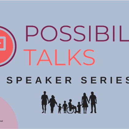 possibility talks speaker series image with logo, light blue circle and electric salmon accent circles.