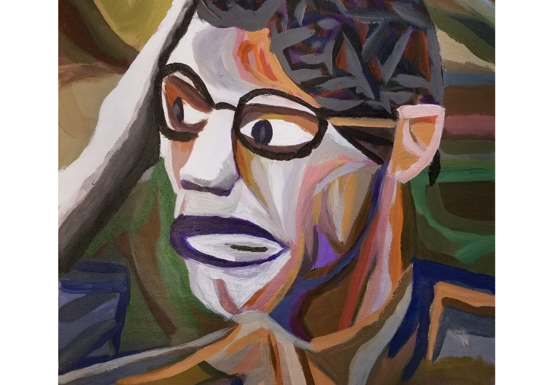 abstract portrait of black man with glasses and short black hair rendered in color blocks with muted colors