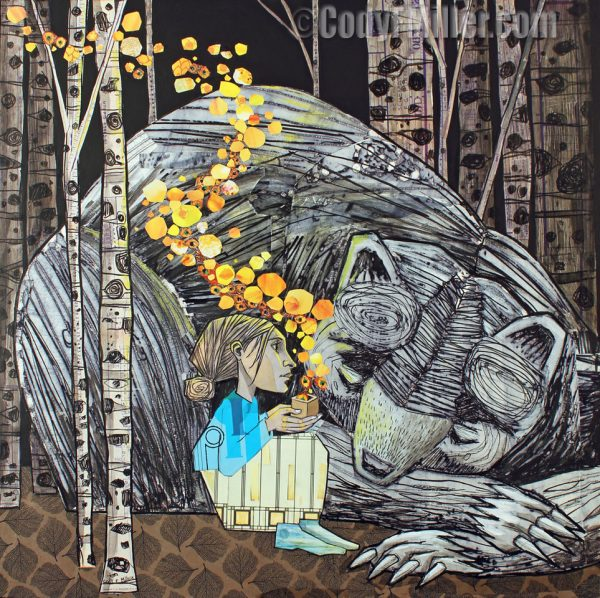 collage artwork of woman sitting in front of a sleeping bear. She holds a box and yellow glowing orbs emerge from the box. There are birch trees in the background.