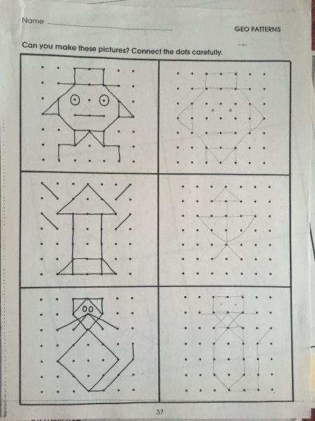 worksheet with six boxes with dot patterns in the boxes. Left boxes have dots connected into patterns, right boxes do not have lines connected into patterns.