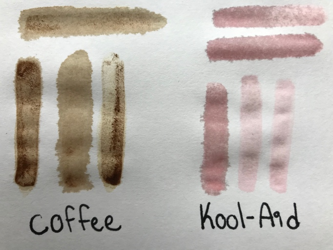 two sets of painted lines each with two horizontal lines over three vertical lines. The set on the left is brown and has a handwritten label under it that reads coffee. The set on the right is pale red and has a handwritten label under it that reads kool-aid