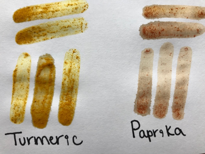 two sets of painted lines each with two horizontal lines over three vertical lines. The set on the left is brownish yellow and has a handwritten label under it that reads turmeric. The set on the right is pale orange and has a handwritten label under it that reads paprika