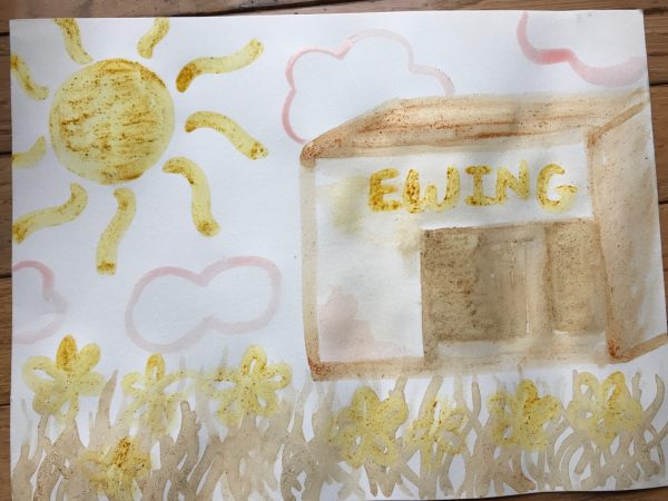 watercolor-style painting of a school with a sign over the door that says Ewing. It is in a field with clouds and a sun and painted in pale yellows, pinks, reds, and browns.